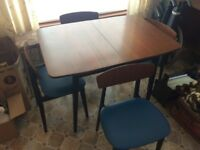 1960's dining table and 6 chairs. Retro. sideboard also.