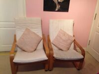 Pair of cream IKEA Poang Armchairs