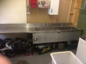 Double Commercial Sink With Decarbonizer In One Side With Large Drainer Very Large 327 W x 72 x 90