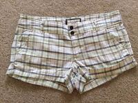 Abercrombie & Fitch White Yellow Blue Chequered Shorts UK size 12-14