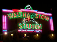 Old walthamstow greyhound racing track chingford London big framed image neon sign