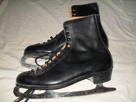 Old pair of ice skates. made by John Wilson - 'Saga' Simlan