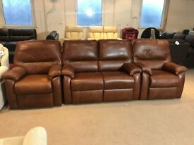 G PLAN BROWN LEATHER THREE PIECE SUITE 2 SEATER SOFA AND PAIR OF MATCHING ARMCHAIRS