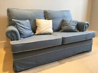 Blue with white piping 2-seater sofa