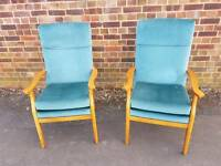 VINTAGE ERCOL STYLE ARMCHAIRS...SUEDE ..GREAT CONDITION...VERY CLEAN.