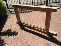 wooden window frame /glass size req 40 in by 22 in