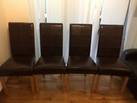 Four oak/leather chairs for sale