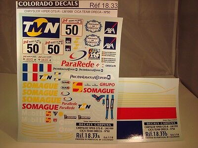 DECALS 1/18 CHRYSLER VIPER GTS-R/T 50 LM 1999 CARPENA 1833