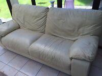 Cream leather sofa 3 & 2 seater