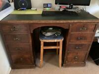 Antique leather topped desk.