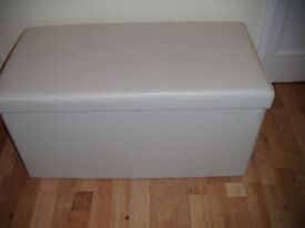 White Faux Leather Ottoman with Lid