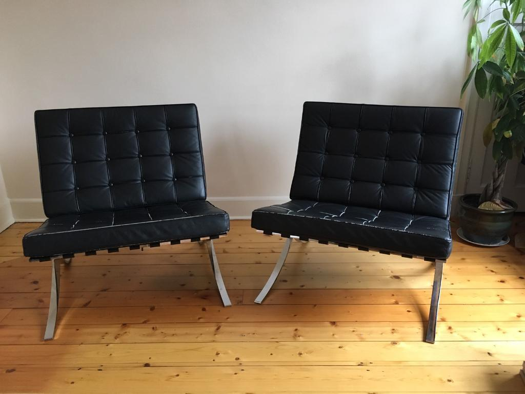 Fabulous Two Barcelona Chairs Black Real Leather In Blackford Edinburgh Gumtree Ncnpc Chair Design For Home Ncnpcorg