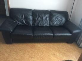 Leather Brown sofa suit student/Landlord accomm