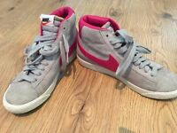 Nike High Tops, Grey and Pink, Size 5.5