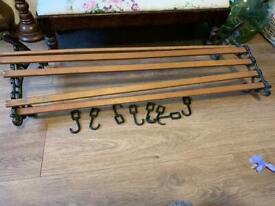 Vintage metal and wood slat wall mounted pan rack