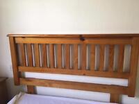 Double pine wooden headboard