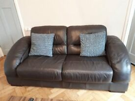 2 and 3 seater brown leather setees