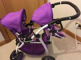 Double toy dolls pram - purple - excellent condition