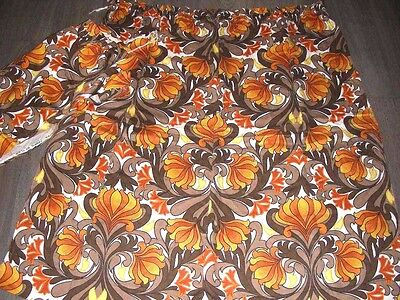 Vintage 60s 70s orange brown scrolling foliage pr cotton curtains 42