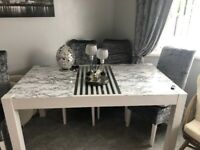 Solid wooden table with 6 matching chairs