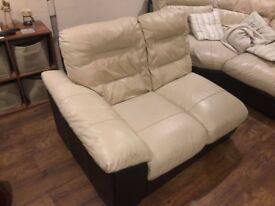 cream leather corner sofa - large