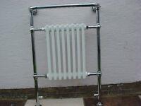Stylish bathroom radiator - Chrome and white ceramic. As new. Vanit unit & Mira electric shower.