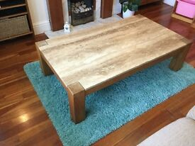 Travertine marble / stone and Oak coffee table