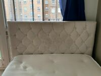 Double bed beige/cream velvet with crystal studs (mattress included)