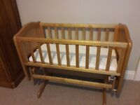 Mothercare Gliding crib with mattress.