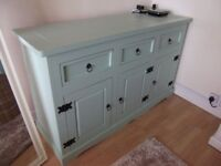 Pine chest of drawers, three drawers, three doors, painted in Laura Ashley Green