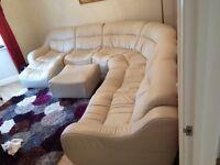 Cream Corner Sofa with Matching Foot Stool