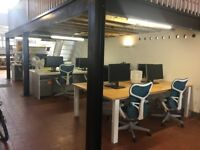 Rent 10x Desk space - East London Warehouse Office share- Off Broadway Market/Hackney Road