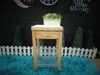 SOLID PINE FARMHOUSE KITCHEN TROLLEY WITH 1 DRAW AND 2 METAL SHELVES