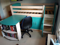 Scallywag midsleeper child's cabin bed and integral desk