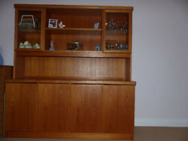 Dining Room Display Cabinet and Dining Table with Six Chairs in solid Teak