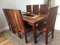 Solid mango dining table and chairs