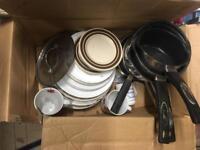 Box of pans plates & 2 mugs