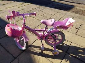 Good Condition Apollo Daisy Chain 14in Girls Bike in Pink with Matching Helmet