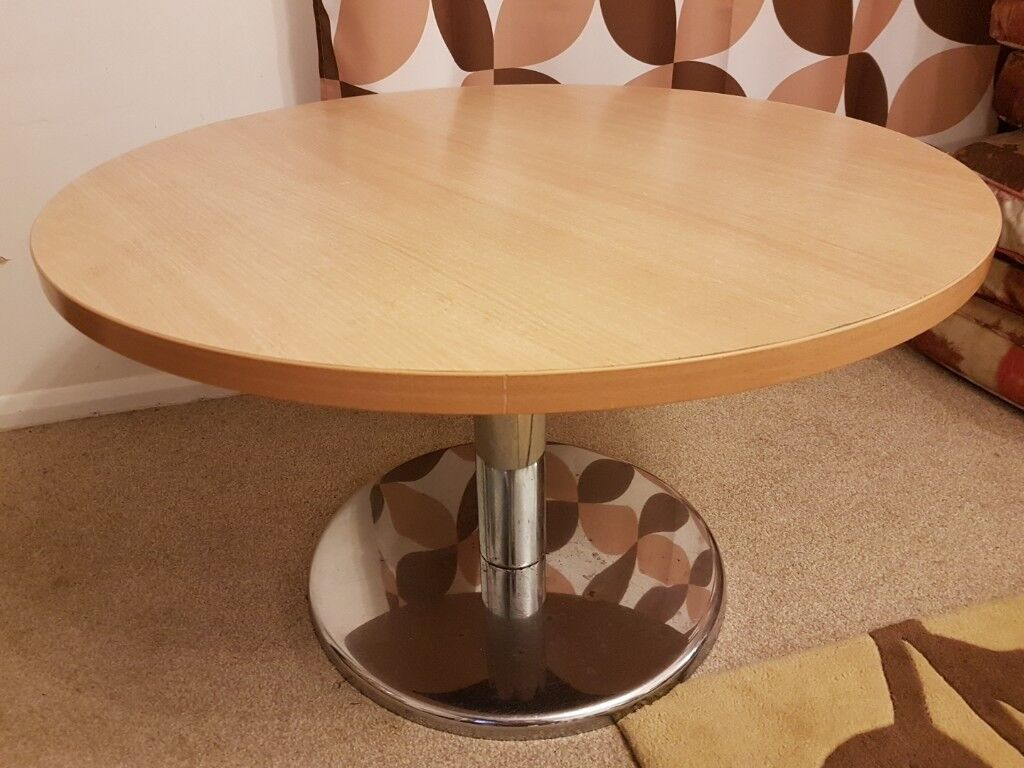 Round Wooden And Metal Coffe Table