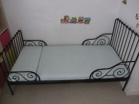 Extendable bed with spring mattress from IKEA