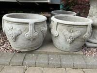 """Pair stone garden grape pots, fab detail, each one measures 12"""" tall by 15"""" across. New"""