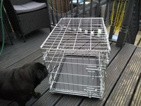 Silver dog cage with tray
