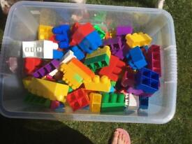 75litre box of duplo bricks. Box not included