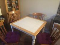 Pine tiled dining table and 4 x chairs