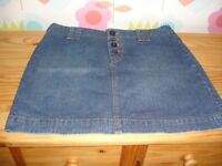 Ladies Girls Papaya Denim Jean Skirt Size 14