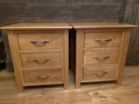 Solid Oak Matching Bedside Tables, Excellent Condition