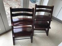 Pair of Stokke Tripp Trapp chairs in walnut