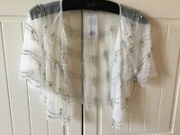 Miss Selfridge Cream Net & Pearl Shrug Size 10