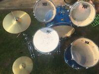 Beginner 'kix' complete rock drum kit.
