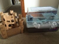 Large hamster cage with play castle